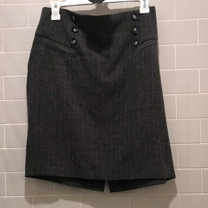 BCX Grey Pencil Skirt With Buttons